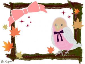 秋のフレーム:大人可愛い小鳥と紅葉とリボンとキラキラと茶色の枠のフリー素材;640×480pix