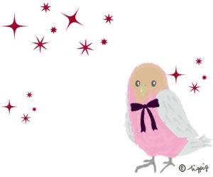 大人可愛いピンクの小鳥とキラキラのイラストのフリー素材:300×250pix