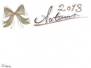 秋のフリー素材:大人可愛いリボンと2013Autumnの手描き文字のイラスト;640×480pix