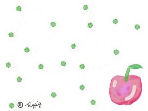秋冬のHP制作のイラスト:リンゴとドットの大人可愛いフリー素材;640×480pix