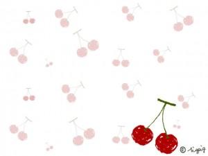 サクランボのイラストいっぱいの背景素材:640×480pix