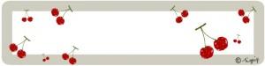 さくらんぼとベージュの囲み枠のヘッダーのフリー素材:800×200pix