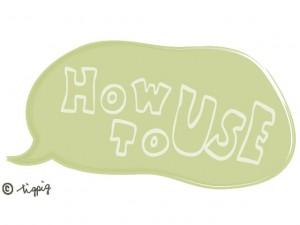 大人可愛い手書き文字のHOW TO USE(使い方)とパステルグリーンのフキダシ;640×480pix