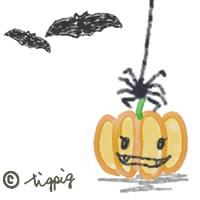 ハロウィンのアイコン:カボチャとクモとコウモリのイラスト素材:200×200pix