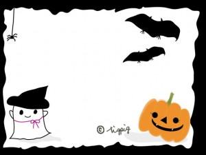 ハロウィンのイラスト:大人可愛いカボチャとコウモリとオバケのフレーム;640×480pix