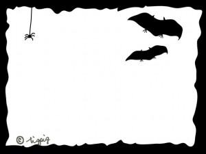 ハロウィンのイラスト:大人可愛いコウモリとクモのシルエットのフレーム;640×480pix