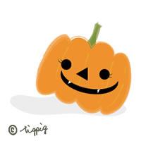 秋のアイコンのイラスト素材:ハロウィンのカボチャのおばけ;200×200pix