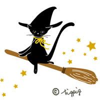 大人可愛い黒猫のイラストのアイコン:ハロウィンのHP制作に使えるフリー素材;200×200pix