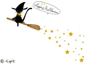 ハロウィンのHP制作に使える大人可愛い黒猫と魔女のホウキの星屑のイラストのフリー素材:640×480pix