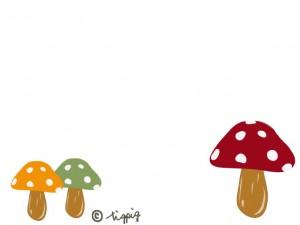 秋のイラスト:大人可愛いキノコのイラストのフレーム;640×480pix