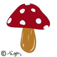 赤いキノコのイラストの秋冬のアイコンに使えるフリー素材:200×200pix