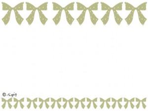 大人可愛いうぐいす色のリボンのイラストいっぱいのラインのフレーム:640×480pix