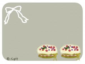 クリスマスやバレンタインに使えるシンプルなケーキとリボンのイラストのフリー素材:640×480pix