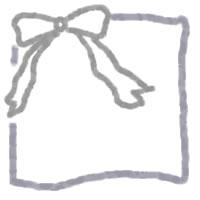 手描きのシンプルなグレーのリボンのイラストと枠のアイコン:200×200pix