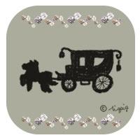 ブラックのシルエットの馬車のイラストとキラキラのアイコン:200×200pix