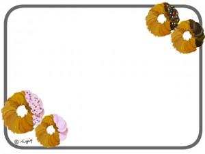 スイーツやベーカリーのHP制作に使えるドーナツのイラストのフレーム:640×480pix