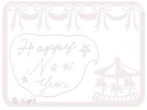 極薄ピンクのHappy New Yearの手書き文字のフキダシとメリーゴーランドとリボン:640×480pix