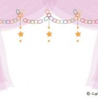 星の輪飾りとピンクのシフォンの幕のイラストのフレーム:640×480pix