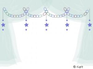パステルブルーの星の輪飾りと半透明の幕のフレーム:640×480pix