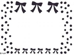 ブラウンブラックのリボンとドット(水玉)のフレームのフリー素材:640×480pix