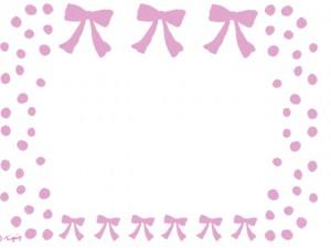 大人可愛い手描きのピンクのリボンとドット(水玉)のフレームのフリー素材:640×480pix