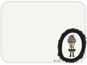 大人可愛いスイーツ(サクランボのソフトクリーム)のイラストと枠:640×480pix