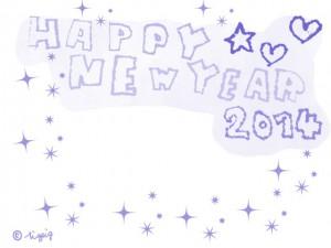 HAPPY NEW YEAR 2014の手描き文字とハートと星のフレーム(パステルブルーver.):640×480pix