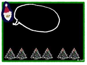 サンタクロースと吹出しと黒い背景が大人可愛いクリスマスツリーいっぱいのフリー素材:640×480pix