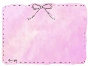 水彩のにじみ(ピンク)の背景とステッチ風のリボンの大人可愛い背景素材:640×480pix