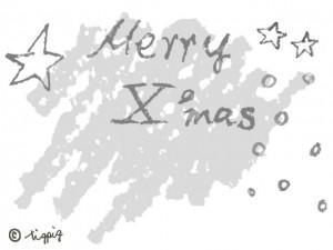 モノトーンのMerry X'masの手描き文字と星と雪とクレヨンのラフな背景:640×480pix