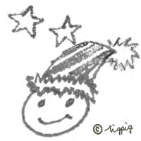 パーティハットのシンプルな顔と星のモノトーンのイラストのアイコン:200×200pix
