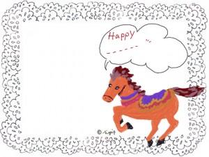 大人かわいいグレーのレースとメルヘンな馬の干支イラストと吹出しのフリー素材:640×480pix
