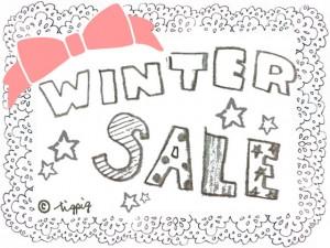 大人かわいい「WINTER SALE」の手書き文字とピンクのりぼんとモノトーンのレース:640×480pix