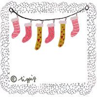 大人可愛いモノトーンのレースとクリスマスの靴下のイラストのフリー素材:200×200pix