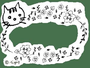 モノトーンの猫と花のイラストのフレーム:640×480pix