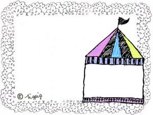 大人可愛いサーカスのテントとレースのイラストのフレーム:640×480pix