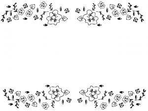 モノトーンの小花のラインのフレーム:640×480pix