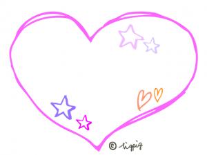 ピンクの手描きのハートのポップ系デコ素材:640×480pix-png
