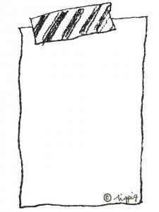 手描きイラストのマスキングテープとラフなフレーム:640×480pix