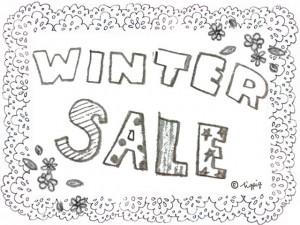 WINTER SALEの手描き文字と小花とレースのモノトーンの無料素材