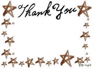 Thank you の手描き文字と水彩の星いっぱいのフレーム