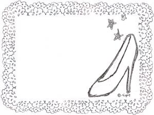 大人可愛い水彩のハイヒールのイラストとレースのモノトーンのフレーム:640×480pix