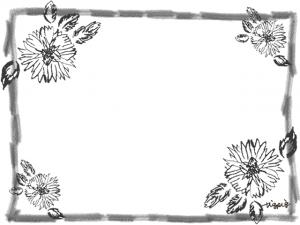 北欧風のモノトーンの花と鉛筆のラフなラインのフレーム:640×480pix