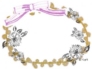 北欧風の花とピンクのリボンと芥子色のレースのフレーム:640×480pix