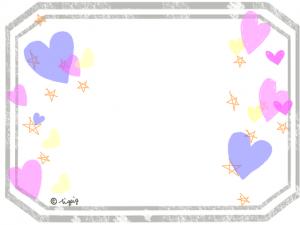 透明感が大人可愛いハートと星とアンティーク風ラベルのフレーム:640×480pix