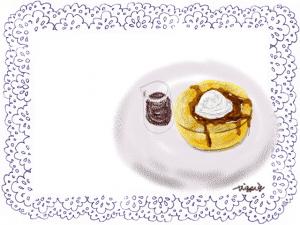ナチュラルなパンケーキと紺のレースのイラストのフレーム:640×480pix