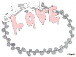 ポップな手描き文字LOVEとリボンのフレーム:640×480pix