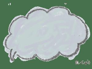 ポップな手描きのふわふわのフキダシ(ブルー):640×480pix
