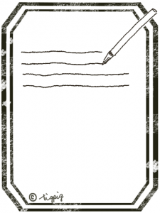 アンティークラベル風のフレームとペンとラインのイラスト:480×640pix
