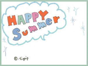 夏のネットショップ制作に使えるHAPPY SUMMERの手描き文字の吹出し:640×480pix